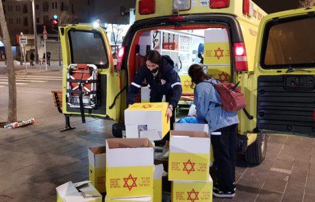 """קמחא דפסחא: אלפי חבילות לנזקקים מזון נאספו על ידי מתנדבי מד""""א"""